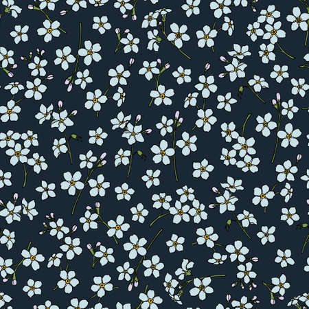 Vector seamless pattern with hand drawn forget-me-not flowers. Beautiful floral design elements, perfect for prints and patterns 向量圖像