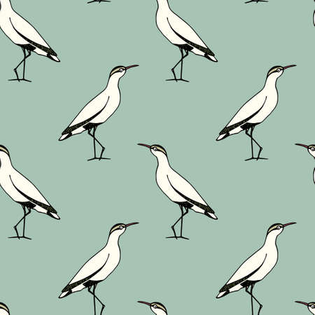 Vector seamless pattern with hand drawn cute sandpipers. Beautiful animal design elements, ink drawing.