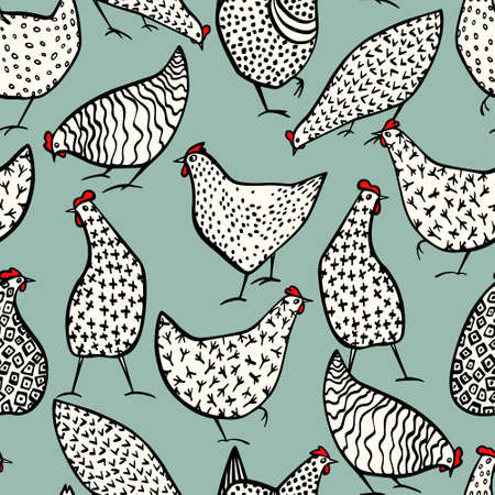 Hand drawn poultry pattern vector illustration. 일러스트