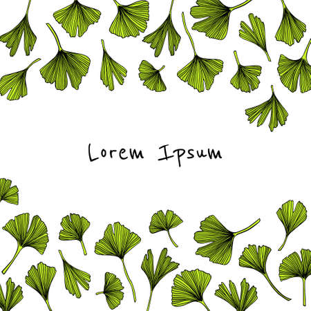 Card with hand drawn Ginkgo biloba leaves border. Çizim