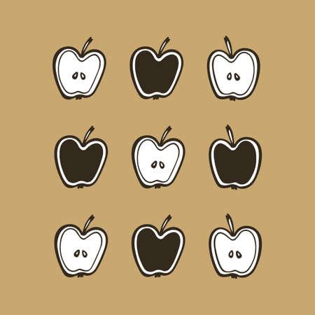 Hand drawn apples Stock Illustratie