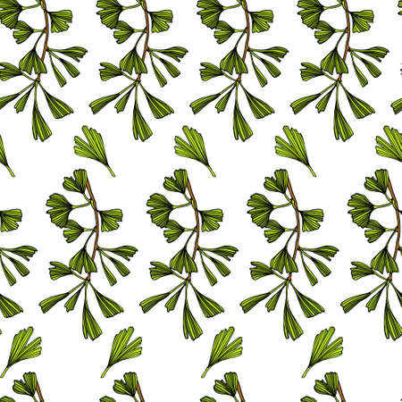 Hand drawn ginkgo pattern
