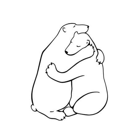 Animali che abbracciano disegnati a mano