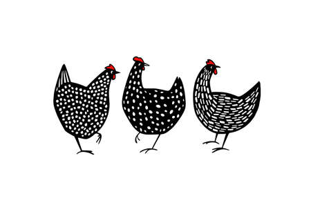 Hand drawn speckled hens Stock Illustratie