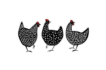 Hand drawn speckled hens Illustration