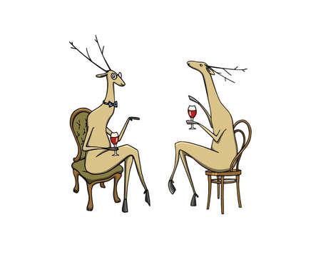 Hand drawn cute deers