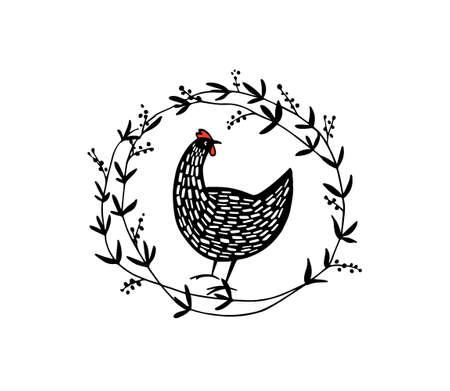 Hand drawn floral chicken emblem