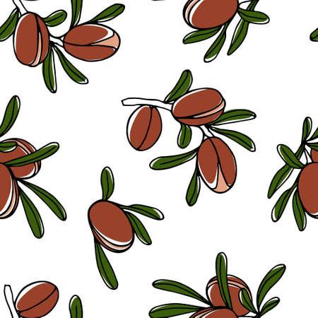 Hand drawn argan tree pattern