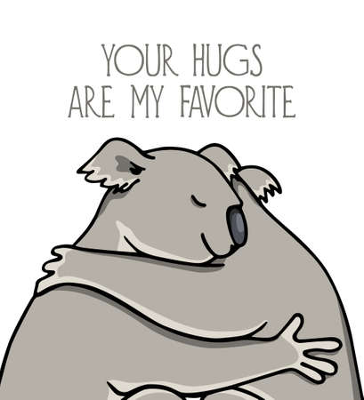 Hand drawn hugging animals
