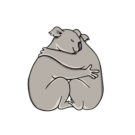 Vector illustration of two hugging koalas. Beautiful animal design elements, ink drawing,