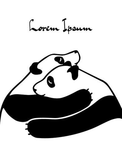 Vector illustration of two hugging pandas. Beautiful animal design elements, ink drawing,