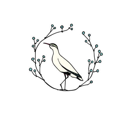 Vector illustration of hand drawn cute sandpiper in floral laurel. Beautiful animal design elements, ink drawing, logo template
