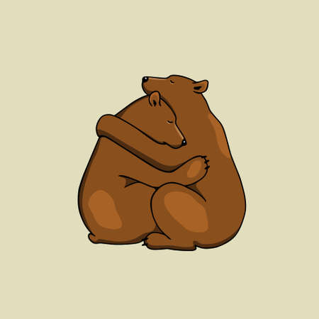 Vector illustration of two hugging bears. Beautiful animal design elements, ink drawing,
