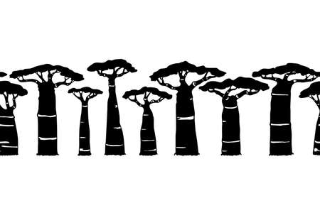 Vector horizontal seamless pattern with hand drawn baobab. Beautiful design elements, perfect for prints and patterns.