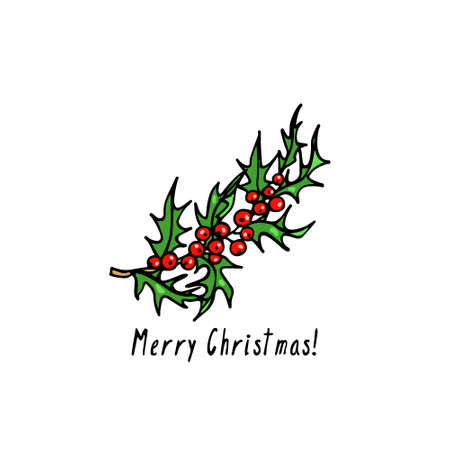 Vector Christmas card with hand drawn holly branch. Ink drawing, graphic style, beautiful holidays design element