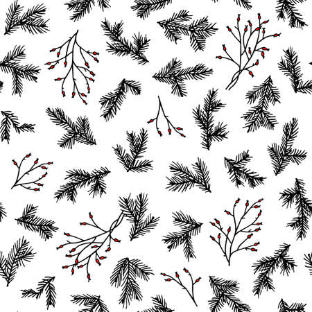 Vector seamless pattern with hand drawn pine twigs. Ink drawing, graphic style, beautiful Christmas and New Year design element