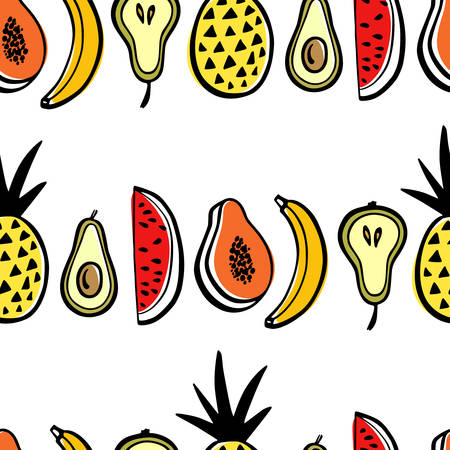 Vector seamless pattern with hand drawn watermelon slices, pineapples, pears, apples and bananas. Beautiful ink drawing, heavy contour, graphic style. Food design elements.