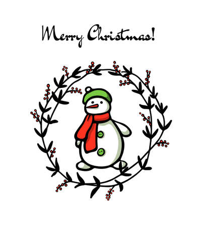 Vector Christmas card with hand drawn snowman in floral wreath. Beautiful ink drawing, vector emblem