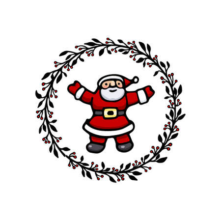 Vector Christmas card with hand drawn Santa Claus in floral wreath. Beautiful ink drawing, vector emblem