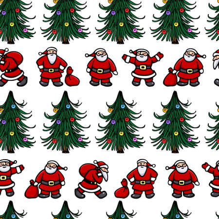 Vector seamless pattern with hand drawn Santas and decorated Christmas trees. Beautiful Christmas design elements, perfect for prints and patterns