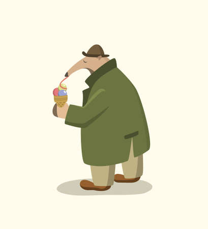 Vector illustration of funny anteater in retro every-man outfit eating an ice cream in a city street. Beautiful design elements, funny animal illustration