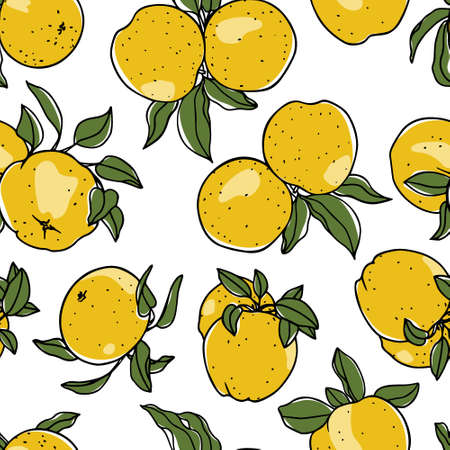 Vector seamless pattern with hand drawn yellow apples. Beautiful food design elements. Ink drawing, perfect for prints and patterns