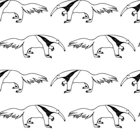 Vector seamless pattern with hand drawn cute anteaters. Beautiful ink drawing, sketch style. Perfect for prints and patterns