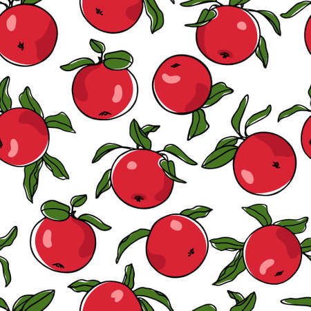 Vector seamless pattern with hand drawn apples. Beautiful food design elements. Ink drawing, perfect for prints and patterns