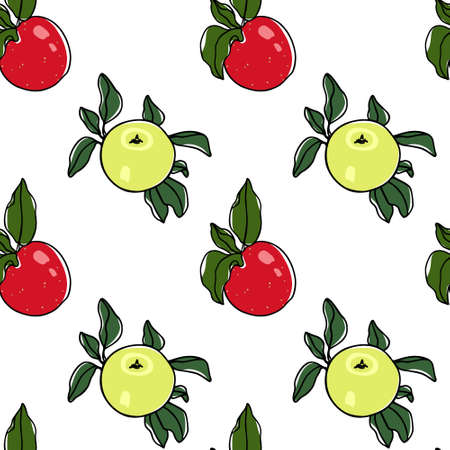 Vector seamless pattern with hand drawn Ginger Gold and Ida Red apples. Beautiful food design elements. Ink drawing, perfect for prints and patterns Ilustração