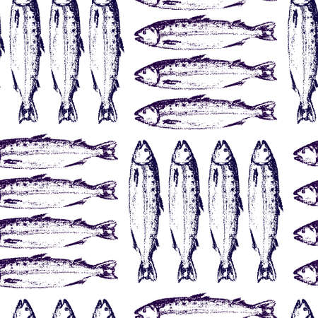 Vector seamless pattern with hand drawn fish made with chalk. Grunge drawing, graphic style. Perfect print for any business related to the food industry. Çizim