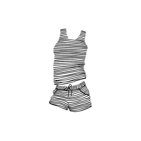 Vector card with hand drawn striped sleepwear. Ink drawing, beautiful casual fashion design elements Çizim