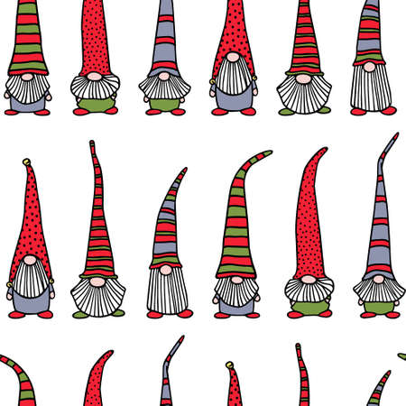Vector seamless pattern with hand drawn cute nisse in striped high cap. Ink drawing, funny illustration, beautiful Christmas design elements.