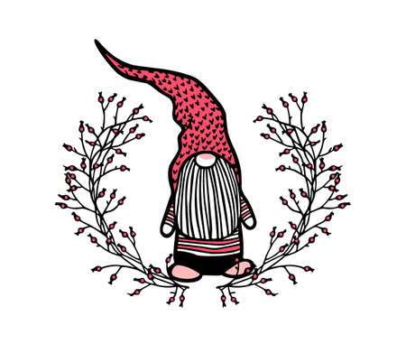 Vector Christmas card with hand drawn cute nisse in high cap in floral wreath. Ink drawing, beautiful Christmas design elements