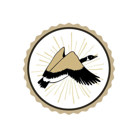 Vector emblem with hand drawn flying wild goose. Beautiful animal design elements, ink drawing.