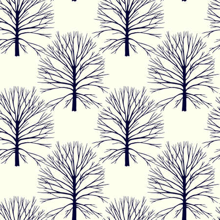 Vector seamless pattern with hand drawn graphic trees. Beautiful floral design elements, perfect for prints and patterns Çizim