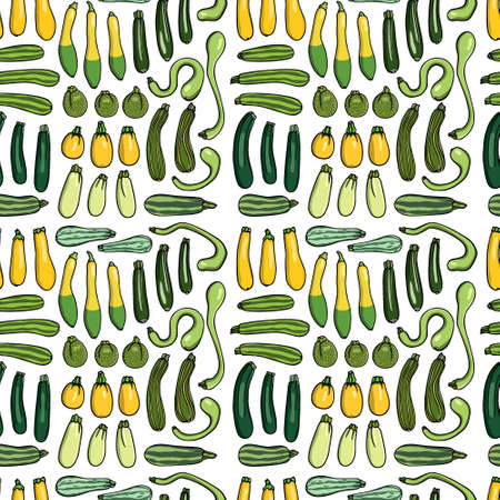 Vector seamless pattern with hand drawn ripe zucchini. Beautiful food design elements, perfect for prints and patterns.