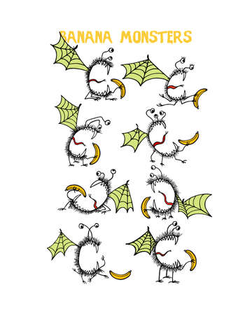 Vector graphic set of hand drawn cute monsters eating bananas. Graphic style, ink drawing. Beautiful design elements