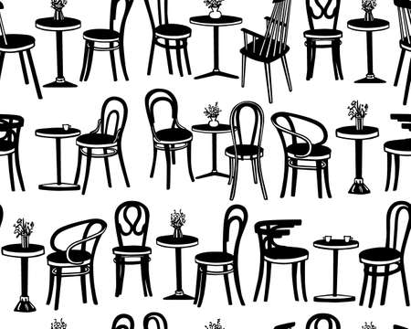 Vector seamless pattern with hand drawn coffee tables and vintage chairs. Lovely scenes of retro cafe. Ink drawing, graphic style. Beautiful design elements. Иллюстрация