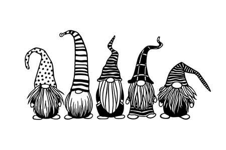 Tarjeta de Navidad de vector con gnomos escandinavos lindos dibujados a mano en gorras estampadas. Dibujo a tinta, ilustración divertida, hermosos elementos de diseño.