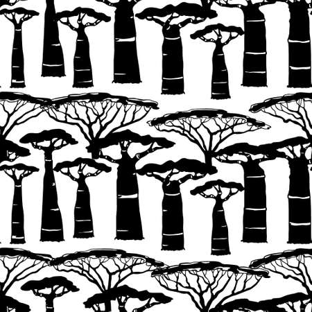 Vector seamless pattern with hand drawn Umbrella Thorn Acacias and baobabs. Beautiful design elements, ink drawing, perfect for prints and patterns Illustration