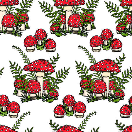 Vector seamless pattern with hand drawn poisonous wild fungus Amanita. Ink drawing, graphic style. Beautiful design elements.