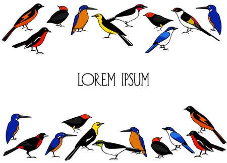 Hand drawn birds Ilustração