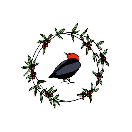 Hand drawn floral bird emblem Ilustração