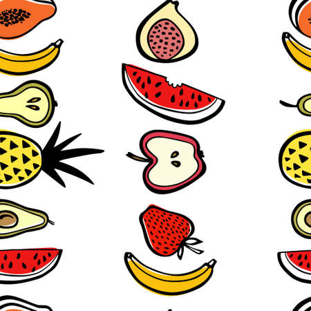 Vector seamless pattern with hand drawn watermelon slices, pineapples, pears, apples, bananas and other fruit. Beautiful ink drawing, heavy contour, graphic style. Food design elements.