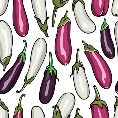 Vector seamless pattern with hand drawn eggplants. Ink drawing, beautiful vegetarian design elements.