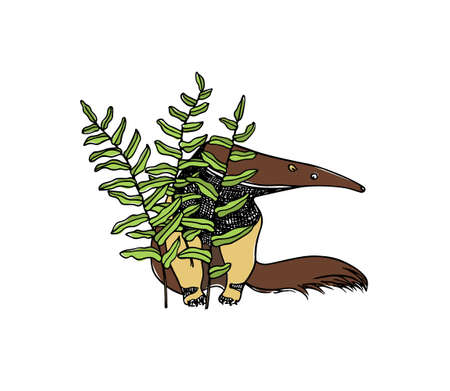 Vector illustration of hand drawn cute anteater hiding behind green big leaves. Beautiful ink drawing, sketch style. Perfect design elements, animal illustration