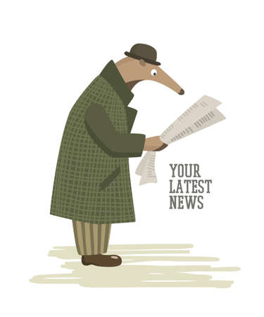 Vector illustration of funny anteater in retro every-man outfit reading a newspaper in a city street. Beautiful design elements, funny animal illustration Illustration