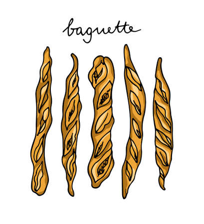 Vector illustration of hand drawn traditional French baguettes. Ink drawing, graphic style. Beautiful food design elements.