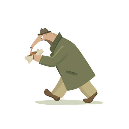 Vector illustration of funny anteater in retro every-man outfit eating street food on the run. Beautiful design elements, funny animal illustration