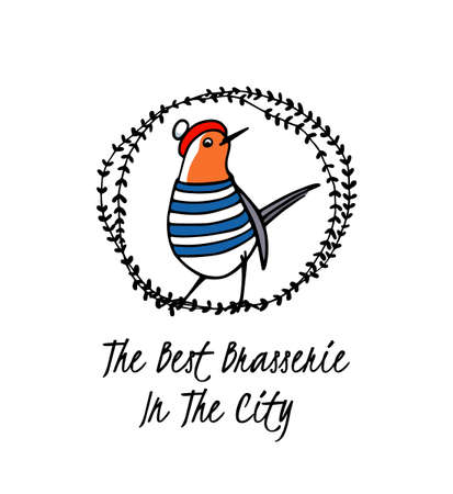 Vector emblem of best brasserie with hand drawn cute robin in traditional parisian outfit in floral wreath. Ink drawing, beautiful food design elements.